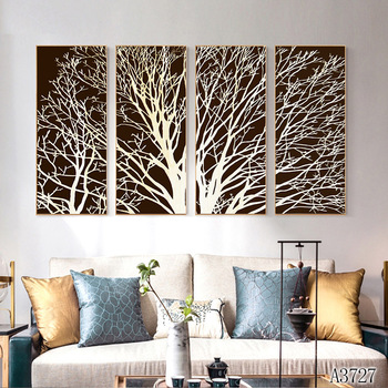 Modern Abstract Oil Painting Print on Canvas 4pcs White and Black Tree Canvas Art Printing Wall Art Picture for Home Decor
