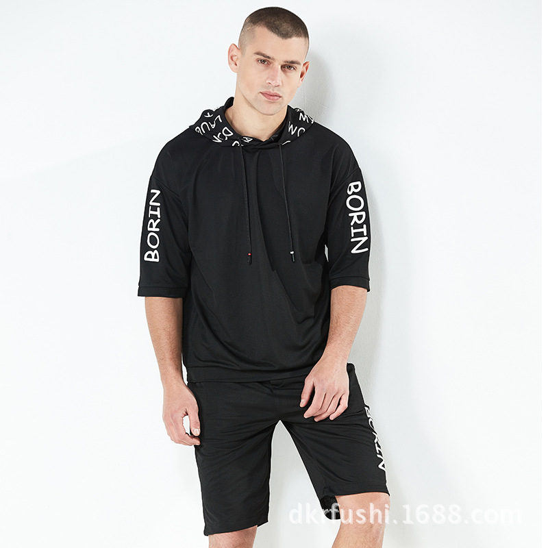 Summer New Style Fashion Leisure Suit Men's Cool Printed Hooded Half Sleeve Tops Loose-Fit Running Short Sleeve Men's 373