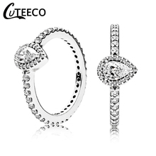 CUTEECO 2019 New Elegant Pear Shape Zircon Rings for Women Water Droplets Design Wedding Ring Engagement Luxurious Jewelry Gift