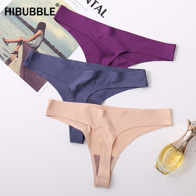 Antibacterial Underwear Women Sexy Panties Seamless Sports Panty T back Solid Soft G string Mesh Thong Woman Ice Silk String