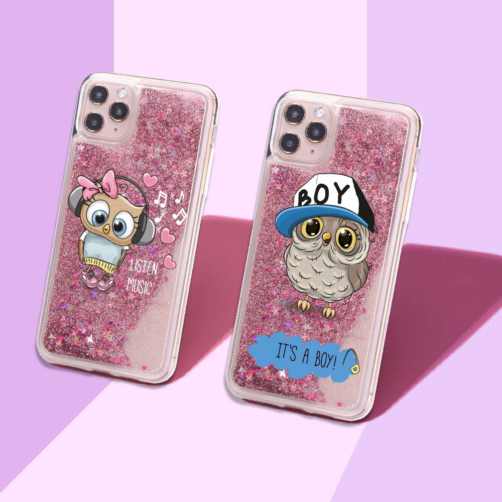 Cute Baby Owl Girl Boy Sparkle Liquid Real Glitter Phone Case Fundas Cover For Iphone 11 X XS XR Max Pro 7 8 7Plus 8Plus 6