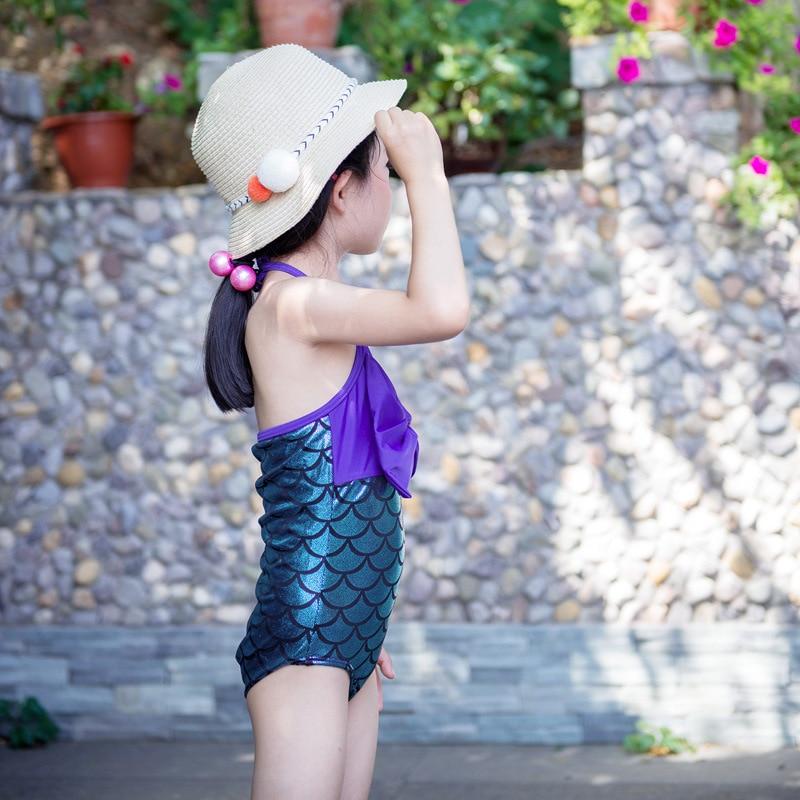 New Style CHILDREN'S Bikini One-piece Bow Scale Mermaid Medium-small Girls Infants Baby Bathing Suit