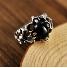 925 sterling silver jewelry retro Thai silver domineering personality fashion black agate silver ring 925 sterling silver retro thai silver bulldog fierce dog ring fashion hip hop personality ring