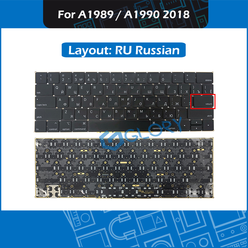 New A1989 A1990 keyboard RU Russian Small Enter key for font b Macbook b font Pro