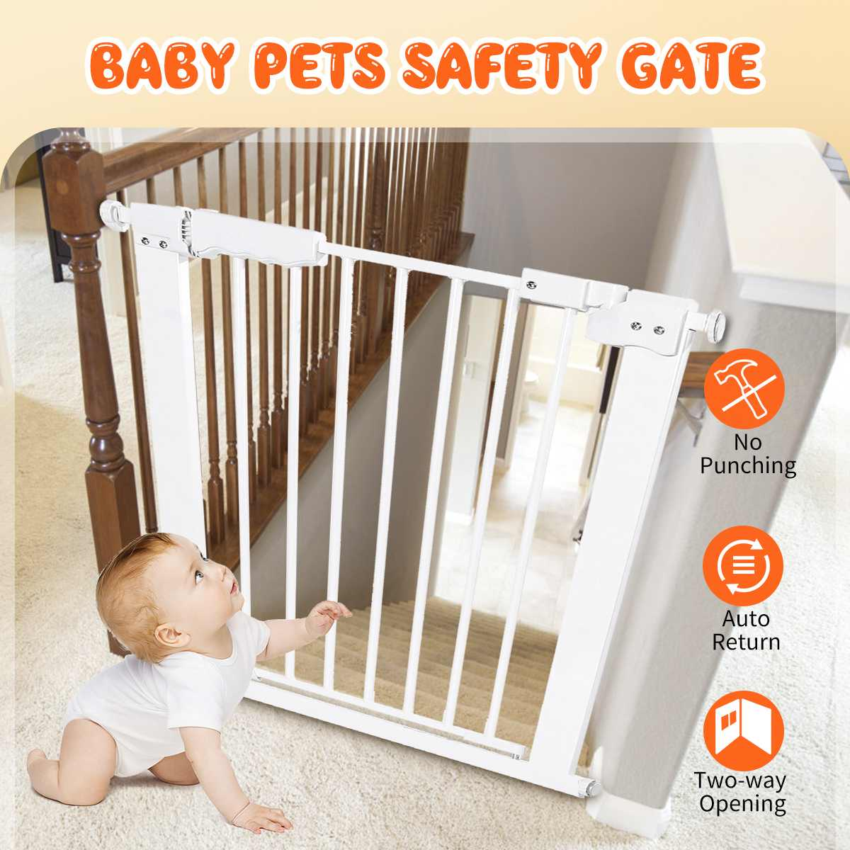Baby Safety Door Gate Pet Dog Cat Fence Stair Door Adjustable Metal High Strength Iron Gate For Kids Safety Protect 61-70.9cm