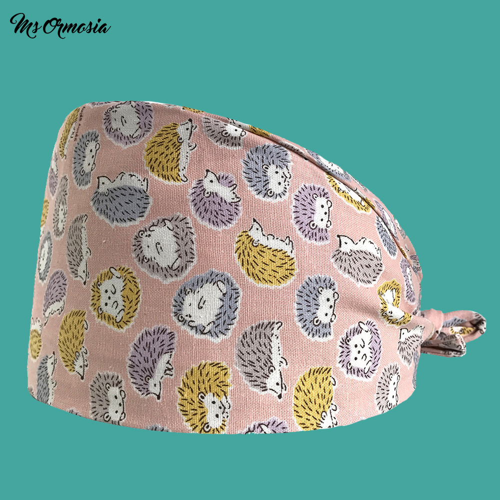 High Quality Pink Animal Print Men And Women 100% Cotton Hospital Doctor Cap Home Care Cap Strap Surgical Cap Hospital Nurse Hat