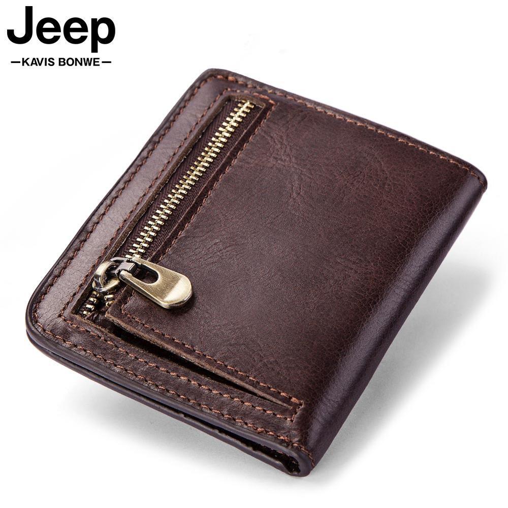 High Quality Men'S Genuine Leather Wallet Vintage Short Male Wallets Zipper Poucht Male Purse Money Bag Portomonee Cheap