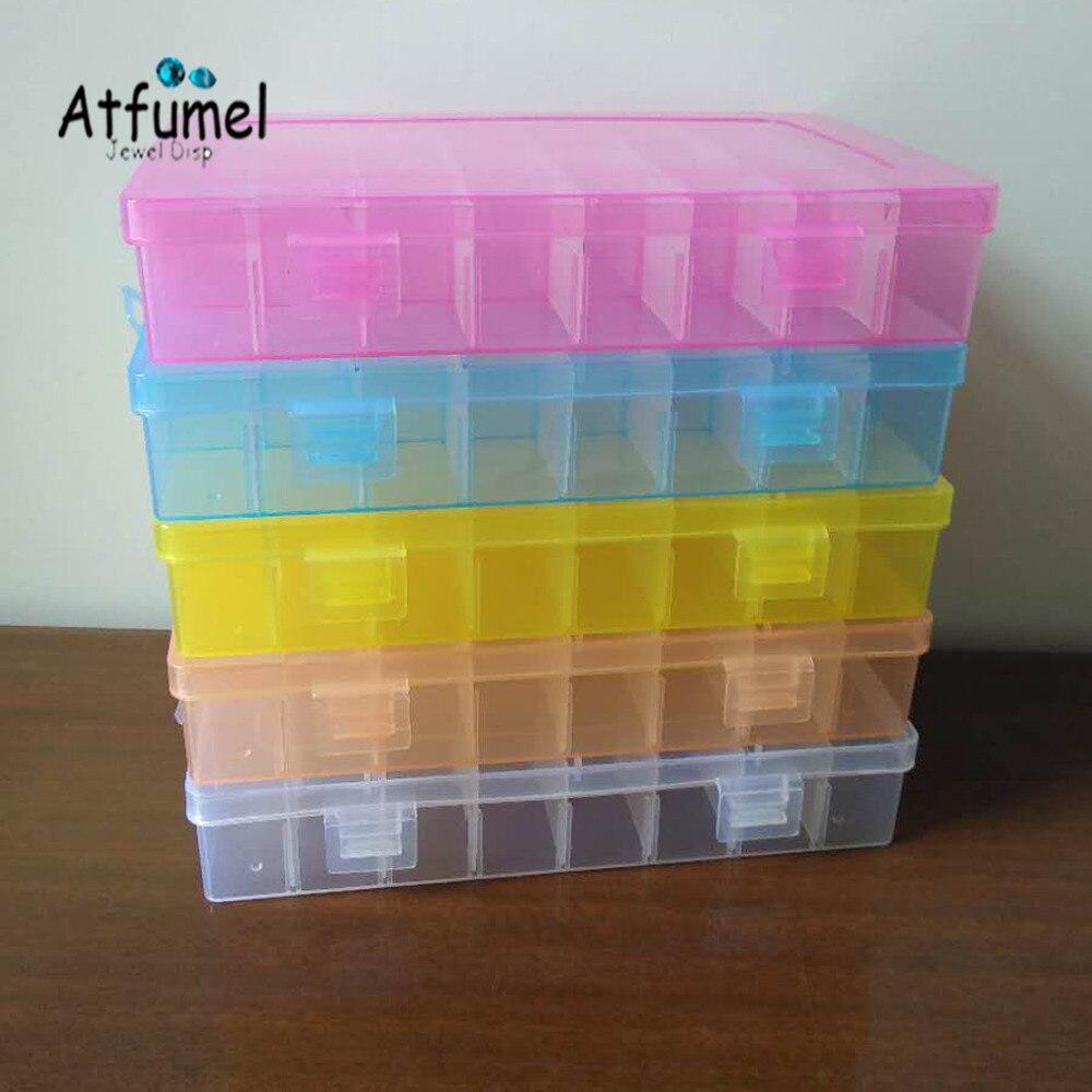 24 compartimentos caixa de jóias contas de plástico organizador recipiente de armazenamento artesanato brinco titular diamante diy trinket gem bandeja