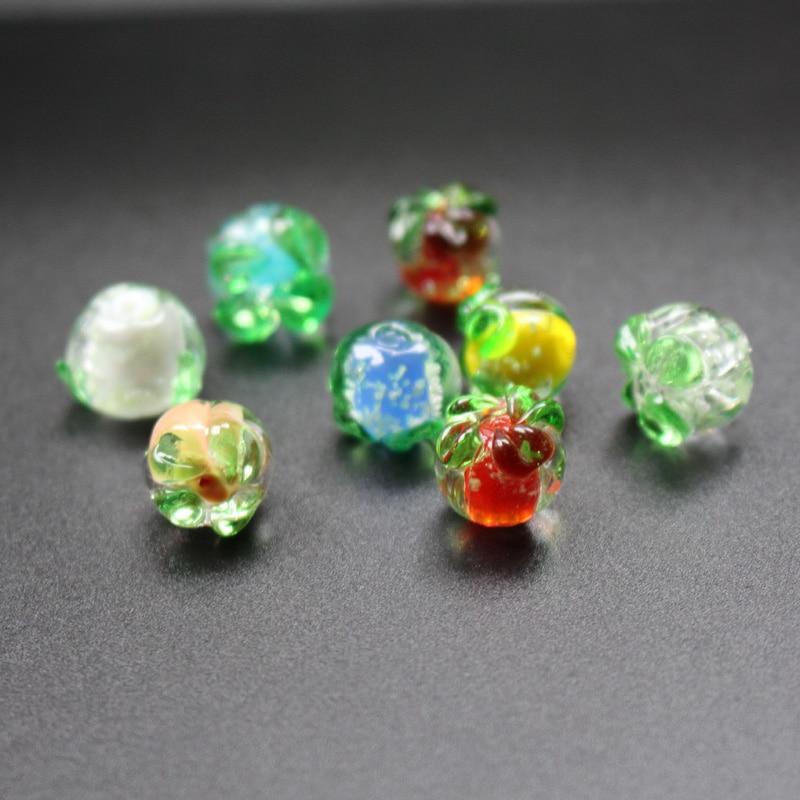 10 Silver foil 16mm Green Tube Lampwork glass beads