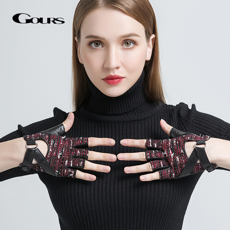 Gours Women's Genuine Leather Gloves Black Fashion Goatskin Fingerless Gloves Fall And Winter Half Finger New Arrival GSL065