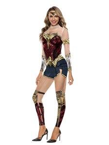 Image 2 - Wonder Woman Costumi Delle Donne Supereroe Diana Costume Costume di Halloween per Le Donne Vestito Sexy Diana Carnevale Cosplay disfraz mujer
