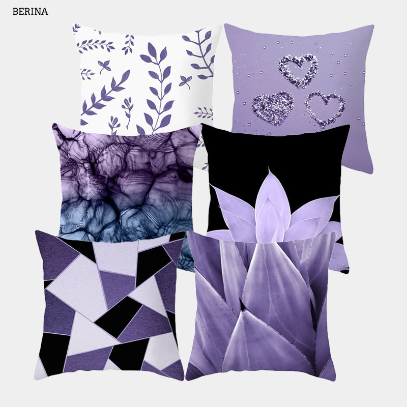 Purple Geometric Cushion Cover 45 * 45cm Polyester Pillow Cover Black And White Throw Pillow Sofa Decorative Cushion Covers
