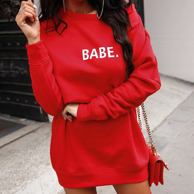 Sweat Rouge Noir Babe femmes Streetwear