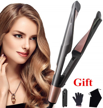 Hair Straightener Curling Iron 2 in 1 Tourmaline Ceramic Twisted Flat Iron Twist Straightening Irons S6606 Perming&Straight 1