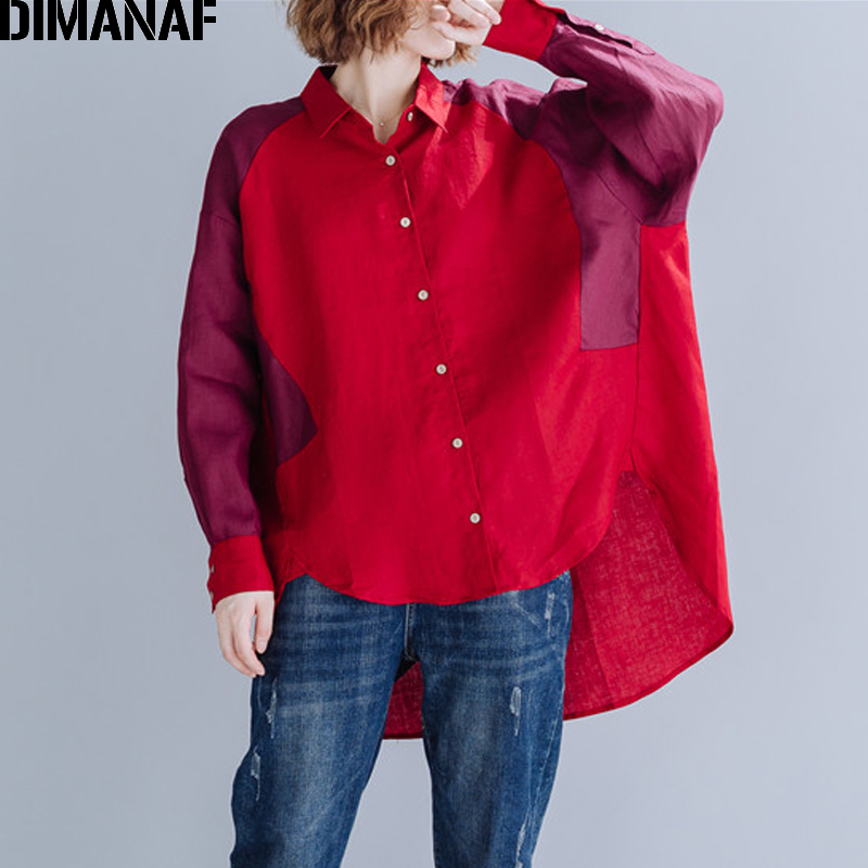 DIMANAF Plus Size Women Blouse Shirts Autumn Long Sleeve Office Lady Big Size Female Clothing Loose Cotton Patchwork Red 2019