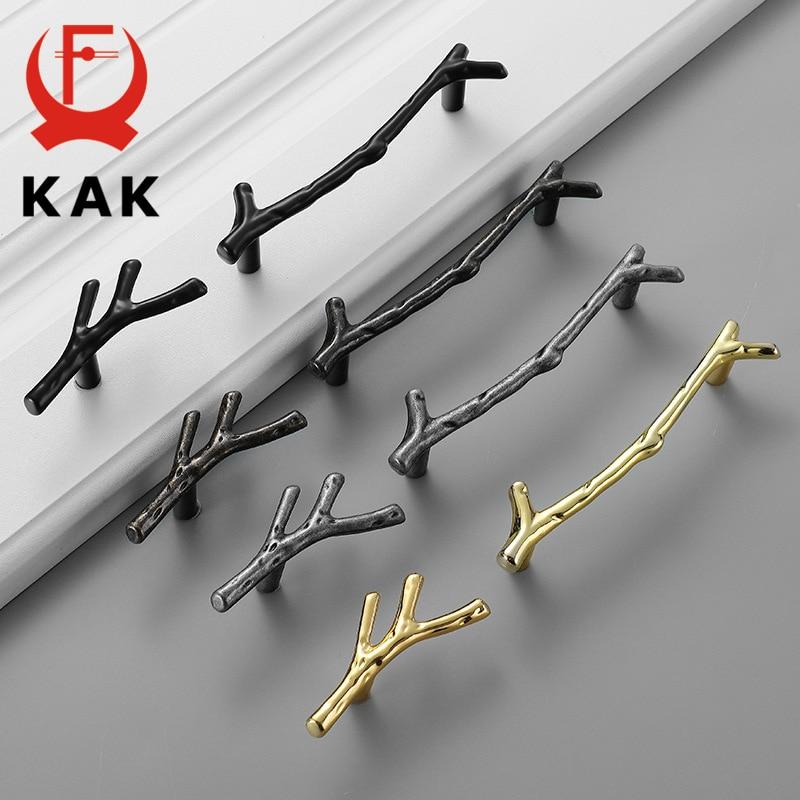 KAK Fashion Tree Branch Furniture Handle 96mm 128mm Black Silver Bronze Kitchen Cabinet Handles Drawer Knobs Door Pulls Hardware