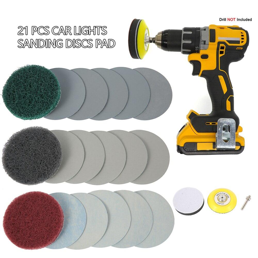 Car Headlight Repair Tool Sanding Disc Reusable Polishing Pad Drill Adapter Kits