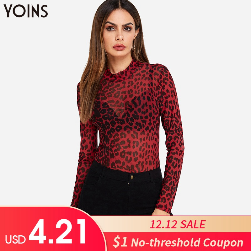 YOINS Women Leopard Print Blouses Shirts 2019 Spring Autumn Mesh See-through Long Sleeve Blusas Tops Sexy Bodycon Pullovers