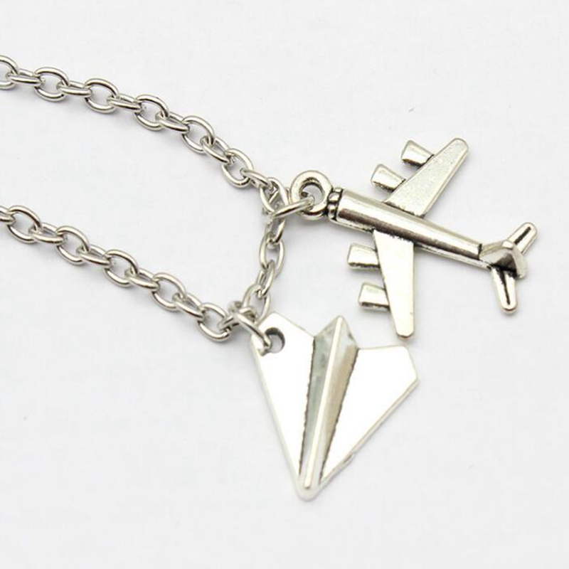 Fashion Harry Styles Tiny Paper Airplane Necklace Black Pearl Scissors Pendant Aircraft Necklace Statement Chain Necklace Gift image