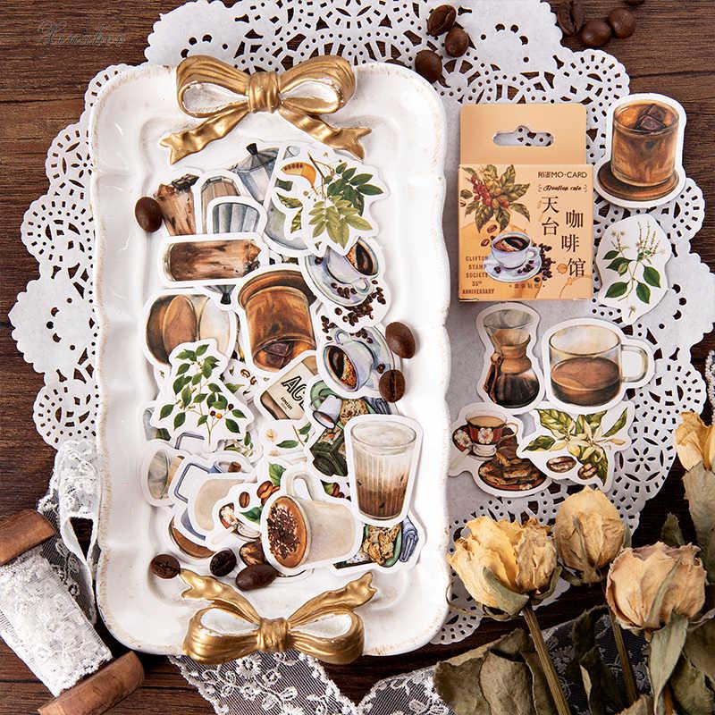 46 adet/grup vintage Kahve bitkiler mini kağıt etiket dekorasyon çıkartmaları DIY zanaat günlüğü scrapbooking planlayıcısı kawaii etiket etiket