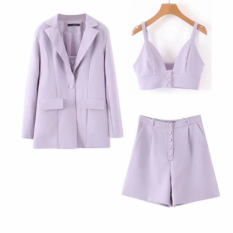 Women's Suits Pants Set Three-piece Suit Autumn Fashion Full Sleeve Loose Mid-length Jacket Casual Sling Top Female Shorts Suit