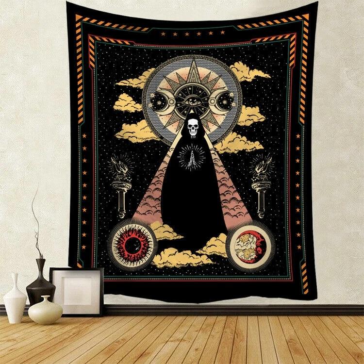 Mandala Tapestry Wall Hanging Sun Bull TapestriesGothic Bedspread Room Art Decor