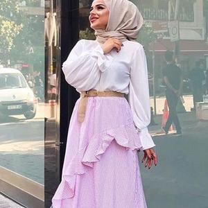 Image 4 - Muslim Women Long Sleeve Blouse White Casual Top Shirt Turtle Neck Loose Clothes Plus Size Elegant OL Style Blouse Islamic Arab