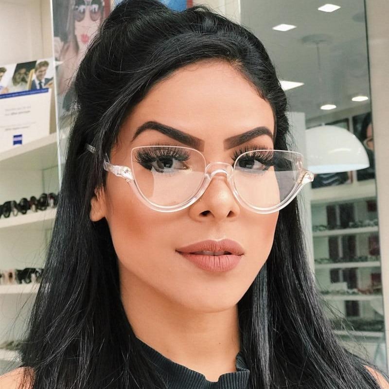 Fashion Diamond Cat Eye Glasses Frames Women Trending Brand Retro Glasses Transparent Mirror Sun Glasses Female Oculos De
