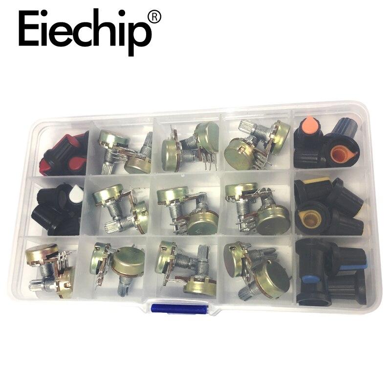 WH148 15mm Single Potentiometer Resistor10K 20K 50K 100K 500K Potentiometer Knob Cap DIY Color Kit