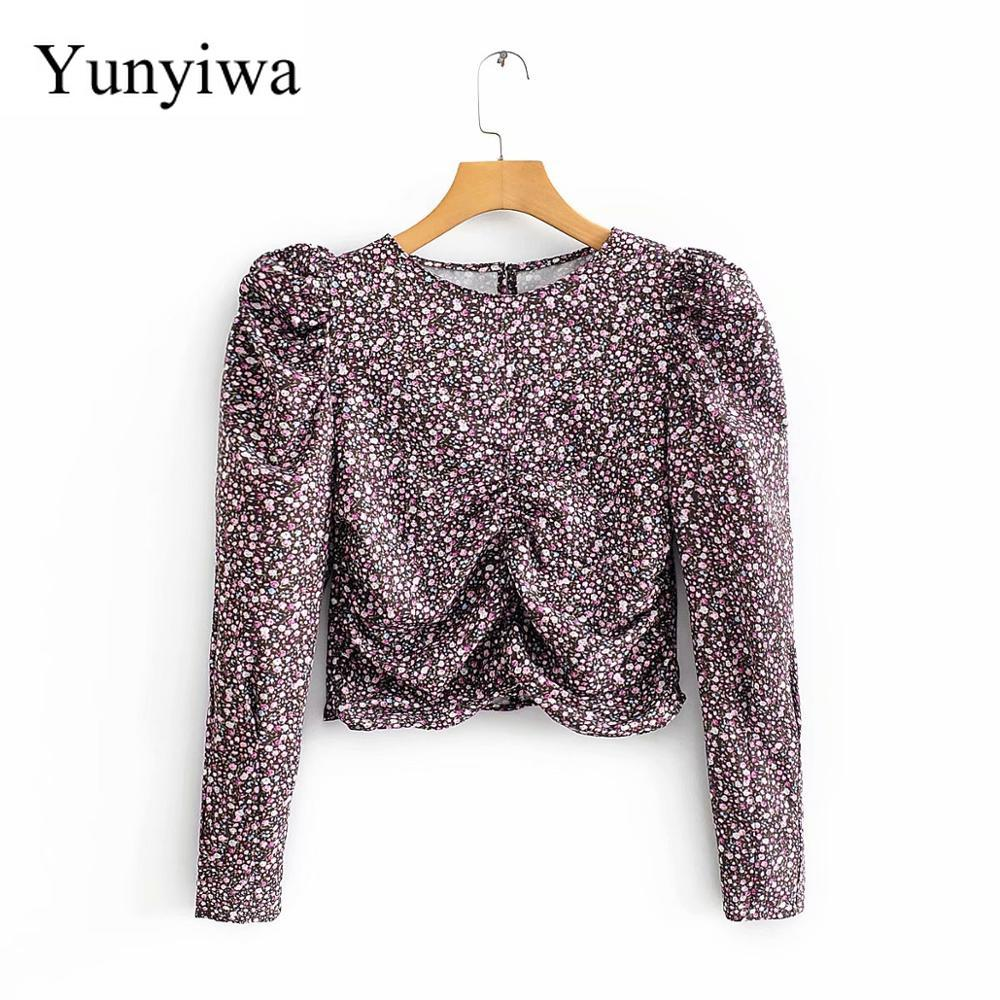 New 2020 Women Vintage Pleats Puff Sleeve Floral Print Pleated Blouse Retro Women Chic Shirt Basic Femininas Chemise Tops