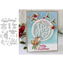 Merry Christmas Snowflake Holly Winter Good Wishes Word Transparent Clear Stamps for DIY Scrapbooking Cards Crafts 2019 New