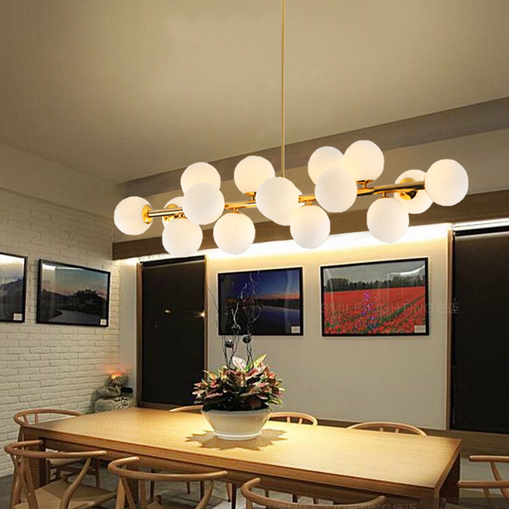 Moden Art Pendant Lights Gold/black Magic Bean G4 Interface Fixtures For Living Dining Room Shop Glass Pendant Lamp 110-240V