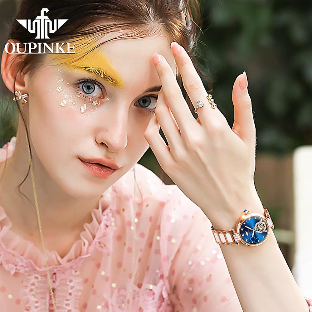 2020 New OUPINKE Top Brand Ladies Fashion Watch Lucky Goddess Automatic Flash Diamond Watch Stainless Steel Ceramic Strap Watch 6