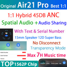 Espacial air21 pro tws de áudio sem fio bluetooth fone ouvido 45db híbrido anc fones super bass 1562p pk h1 air3 1562h com texto