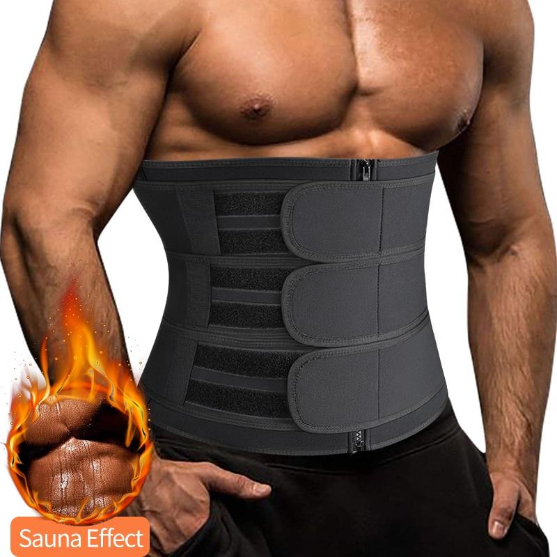 Men Waist Trainer Trimmer Belt for Weight Loss Neoprene Body Shaper Sauna Workout Sweat Belly Belt with Double Straps Shapewear