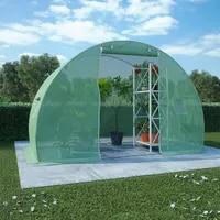 Simples walk-in estufa com forte fundação de aço jardim capa plantas casa de flores anti-congelamento à prova de chuva 4 tamanhos