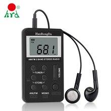 HanRongDa HRD-103 AM FM Radio cyfrowe 2 zespół odbiornik Stereo przenośny kieszonkowy Radio w/słuchawki ekran LCD FM 87.5-108 MHz