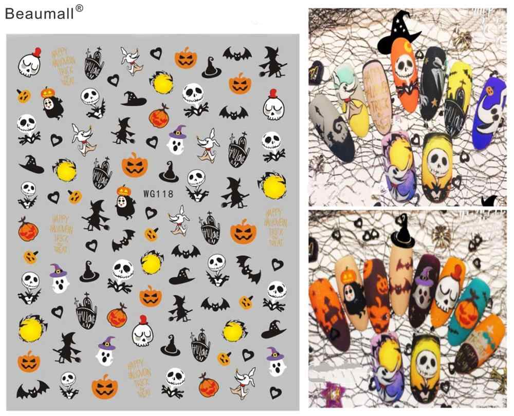Halloween Type Nails Art Manicure Terug Lijm Decal Decoraties Ontwerp Nail Sticker Voor Nagels Tips Beauty