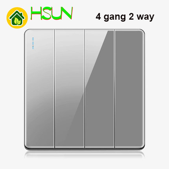 High-grade 1 2 3 4 gang 1 2 way big panel Grey switch socket Type 86 Wall 2.5D Cambered Mirror Toughened glass Computer TV 14