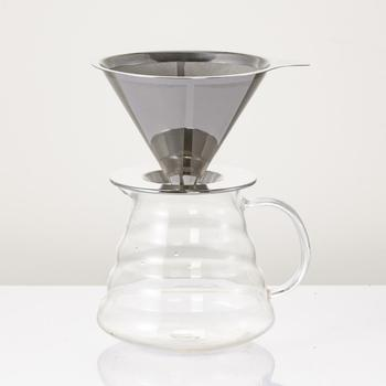 Nueva venta caliente reutilizable de acero inoxidable en forma de cono goteador de café de doble capa filtro de malla colador cesta accesorios de cocina