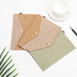 A4/A5 Big Capacity Document Bag Imitation Linen Canvas Felt File Bag Briefcase File Folders Students Stationery Office Supplies