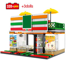 Cafe Restaurant Food Shop Retail Store Building Blocks for Legoing Architecture City Street View Diy House Bricks Toys For Kids(China)