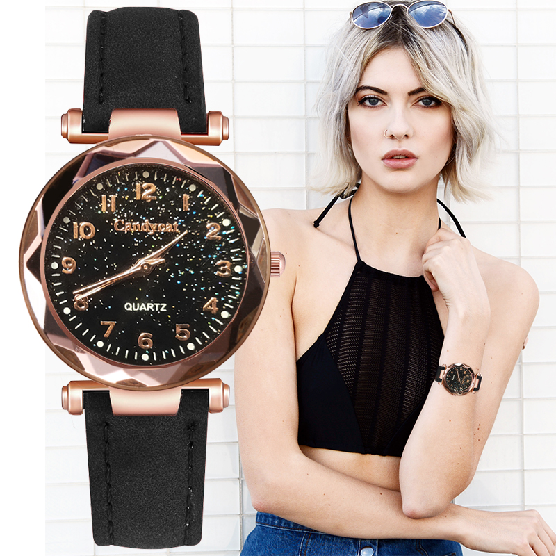 Women Fashion Watches Cheap Starry Sky Ladies Bracelet Watch Casual Leather Quartz Wristwatches Clock Relogio Feminino D7