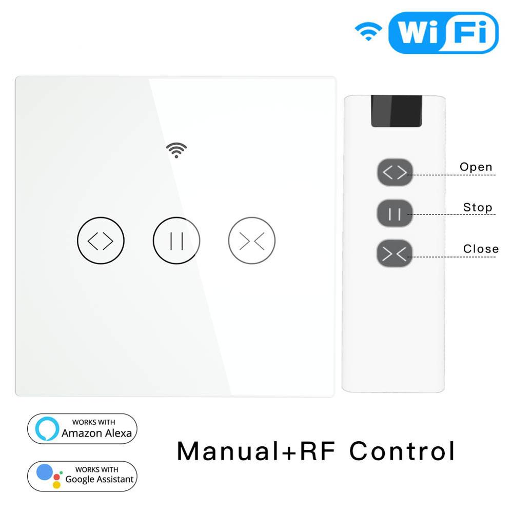 RF Wifi Smart Touch Curtain Shutter Switch Roller Tuya Life Smart App Remote Control, Work With Alexa Eco Google Home