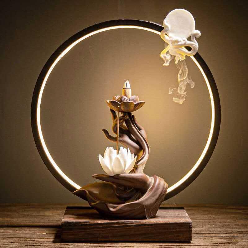 Buddha hand countercurrent incense burner with Usb Led light Home Decor 1