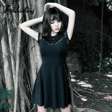 Fitshinling Mesh Patchwork Gothic Dresses Women Strap Pentagram Black Robe Femme Slim A Line Grunge Harajuku Short Sleeve Dress