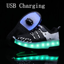 2020New 29-40 USB Charging Children Sneakers With 2 Wheels Girls Boys Led