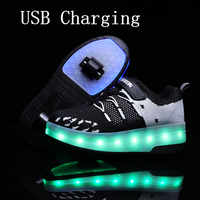 2020New 29-40 di Ricarica USB Per Bambini Scarpe Da Ginnastica Con 2 Ruote Ragazze Ragazzi Led Scarpe Da Tennis Dei Bambini Con Ruote A Rulli pattini