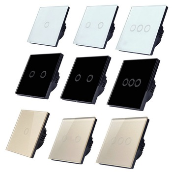 цена на EU/UK Standard Light Wall Touch Screen Switch, AC110-240V Touch Switch Crystal Glass Panel 1/2/3 Gang 1 Way Wall Touch Switch