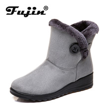 Fujin Winter New Keep Warm Women Snow Boots Button Suede 43 Size Low Heel Casual Shoes  Cotton Fashion